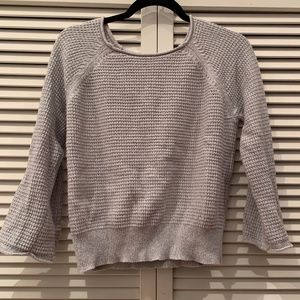 Ann Taylor- Gray Cropped Bell Sleeve Sweater